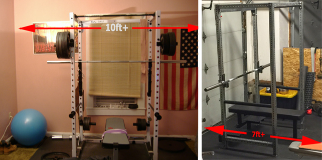 Width and Length of space needed for power rack