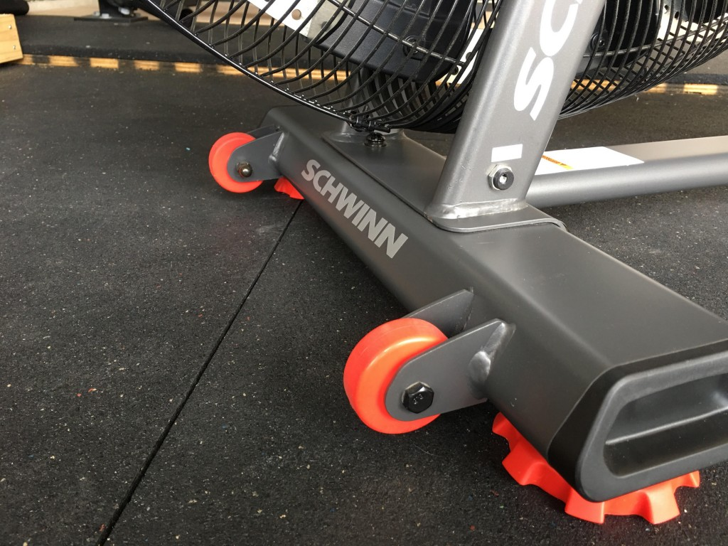Closeup of the wheels and base of the Airdyne Pro