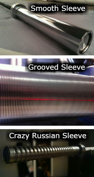 Barbell sleeves - grooved, smooth, and Russian