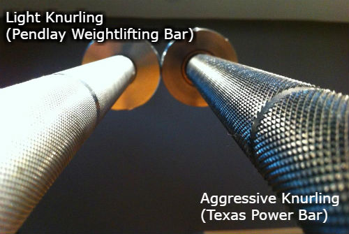 Pendlay weightlifting bar vs Texas Power Bar knurling