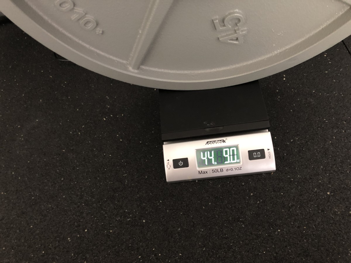 actual weight of 45lb machined iron weight plates