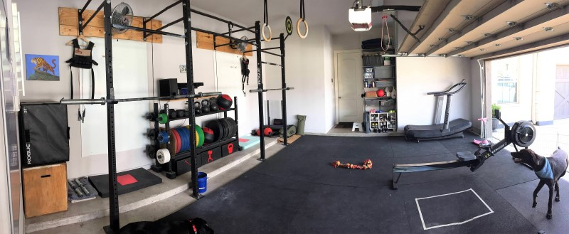 A great example of a complete garage gym in a 2-car garage