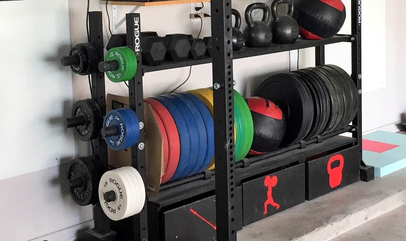 Garage gym weight storage rack for bumpers, change plates, kettlebells, and med balls