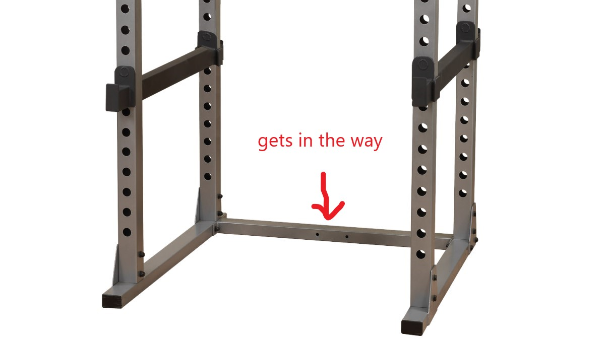power rack lower cross brace in way