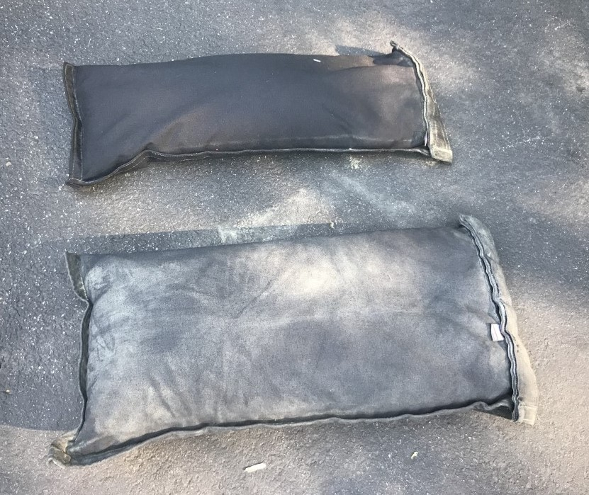 Sandbag filler bags with double velcro closures that will not leak