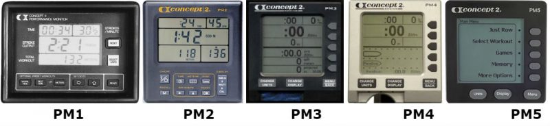 all the concept 2 performance monitors: PM1, PM2, PM3, PM4 and PM5