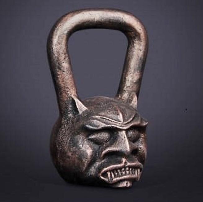 hand casted demonic kettlebell