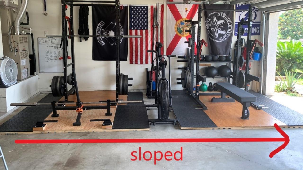 Sloped Garage Gym Floor, Level Garage Floor For Gym