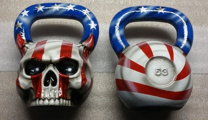 USA flag colors skull kettlebell