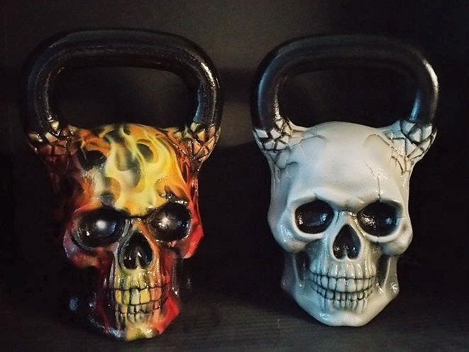 flaming skull kettlebell