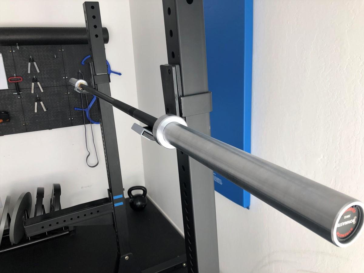 Ironmaster OB86 bar on Titan X-3 squat stand