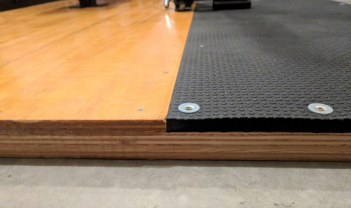 Side view of custom built olympic lifting platform