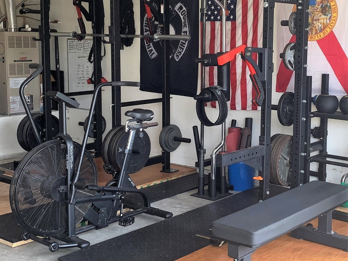 Assault Bike in garage gym