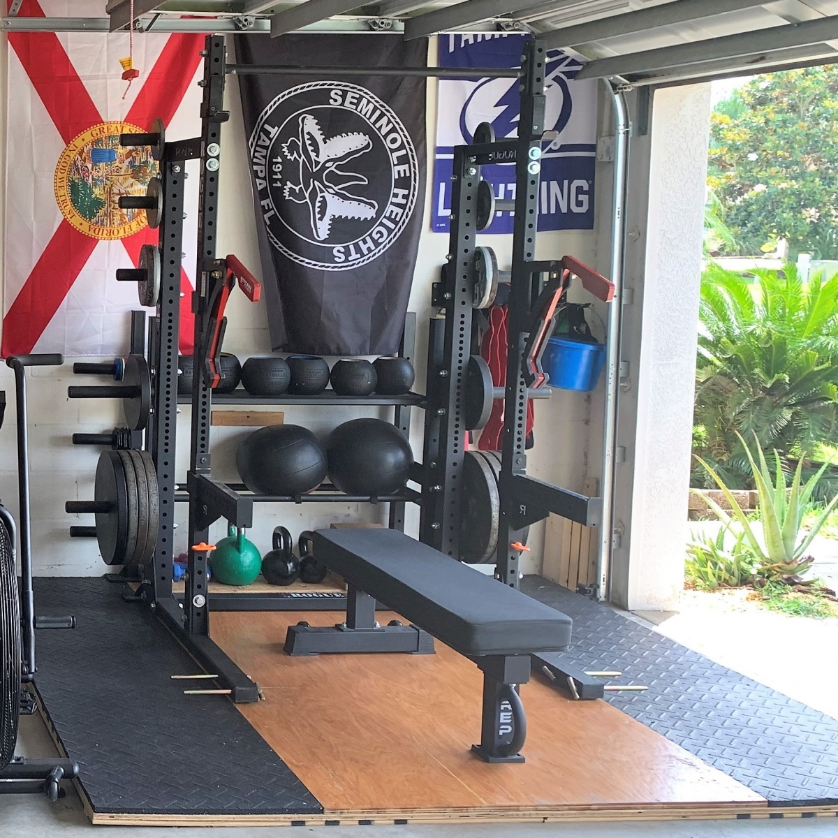 Rogue SML-2 half rack with extension, and Rep FB-5000 Flat Bench