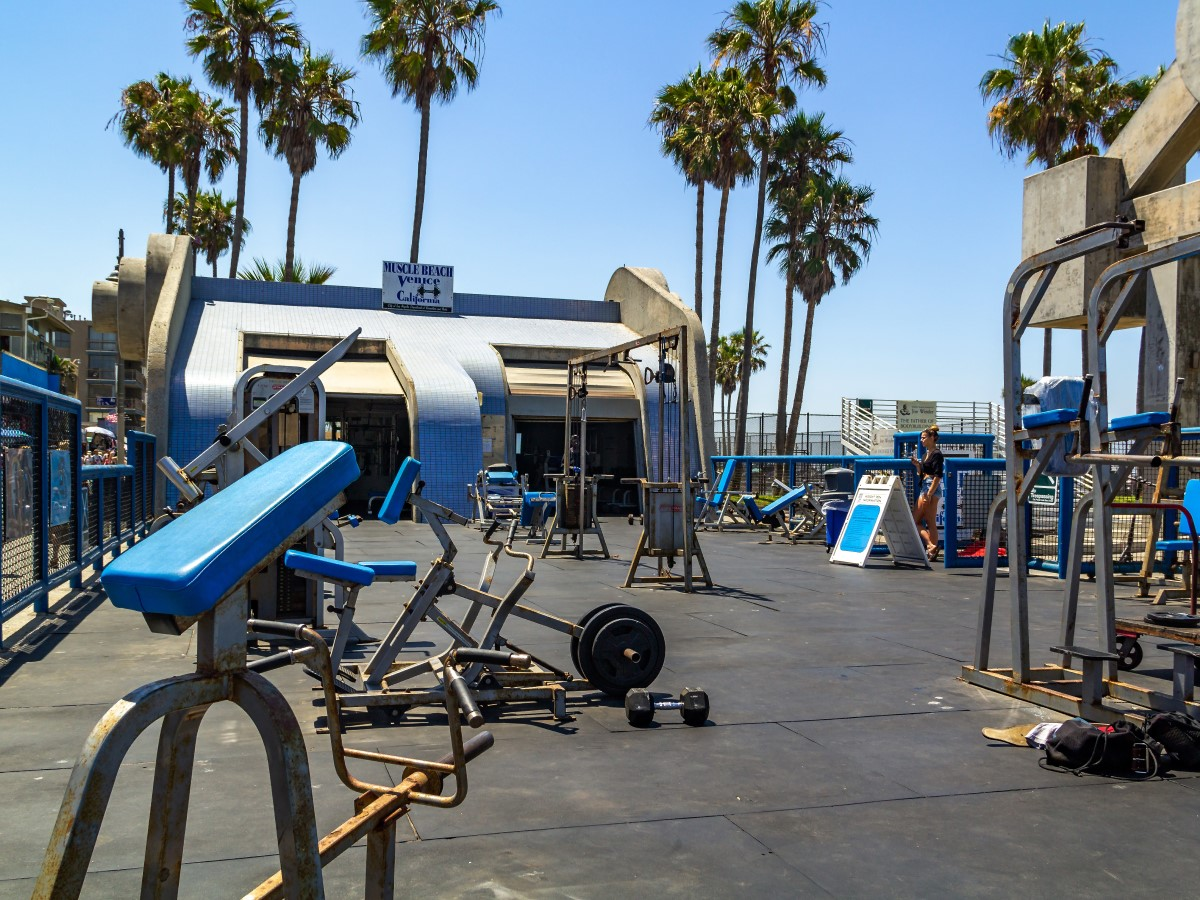 Muscle Beach outdoor gym with some rust