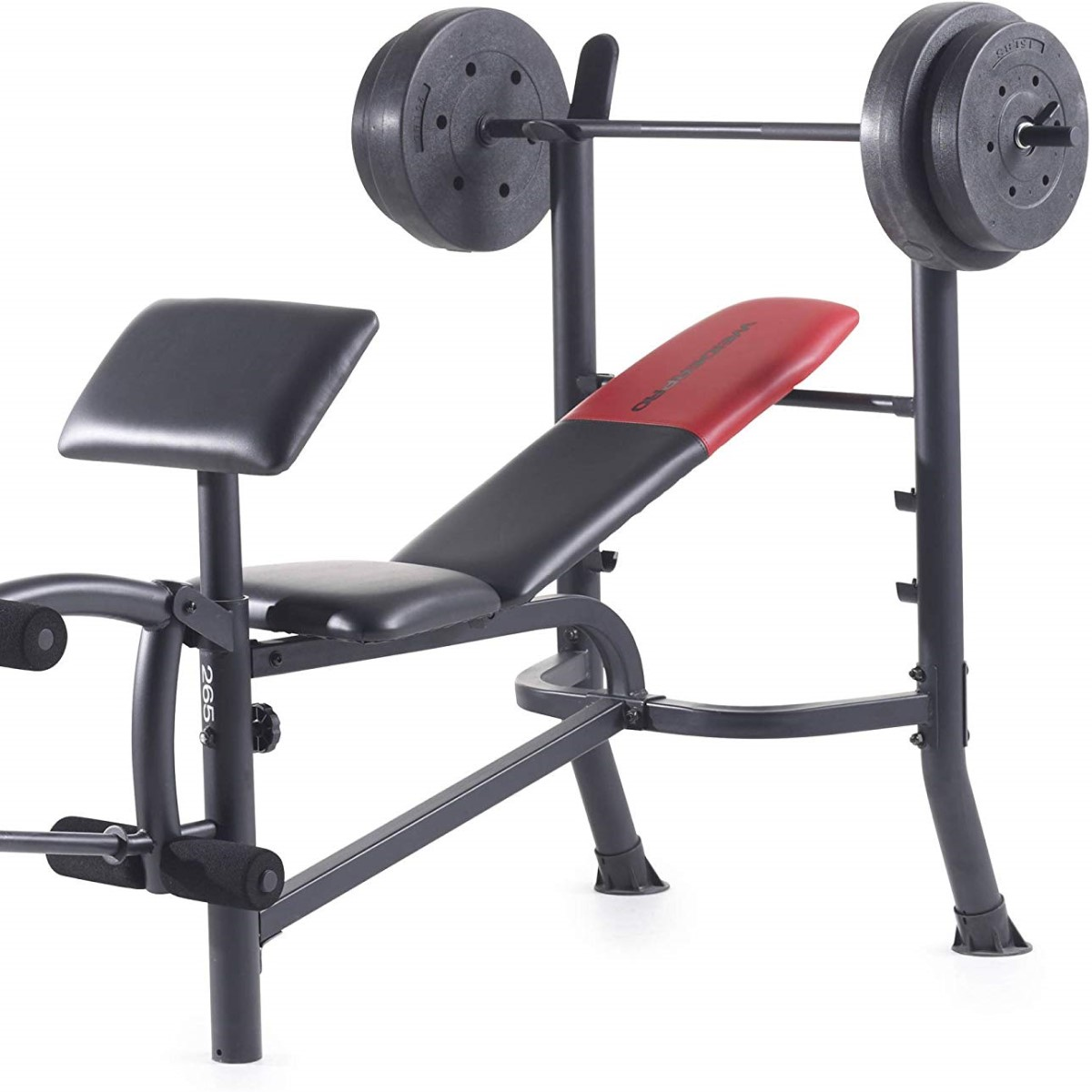 Standard barbell on weight bench