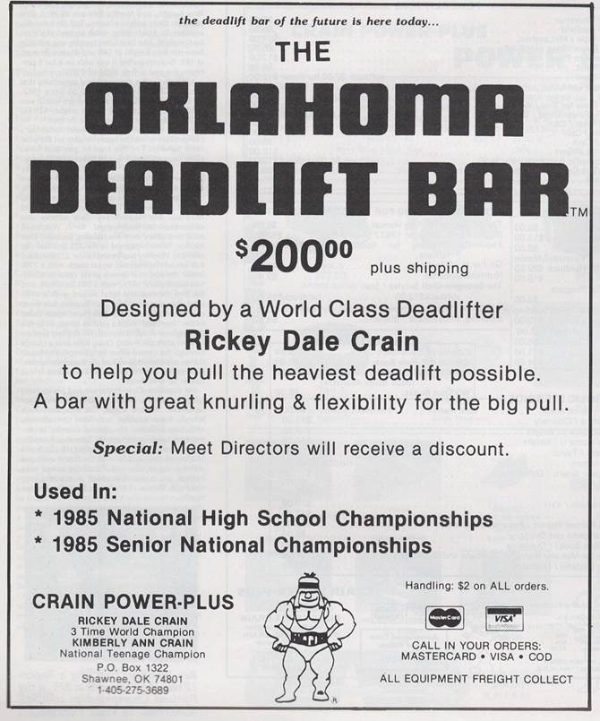 1985 vintage advertisement for Oklahoma / Okie Deadlift Bar by Rickey Dale Crain