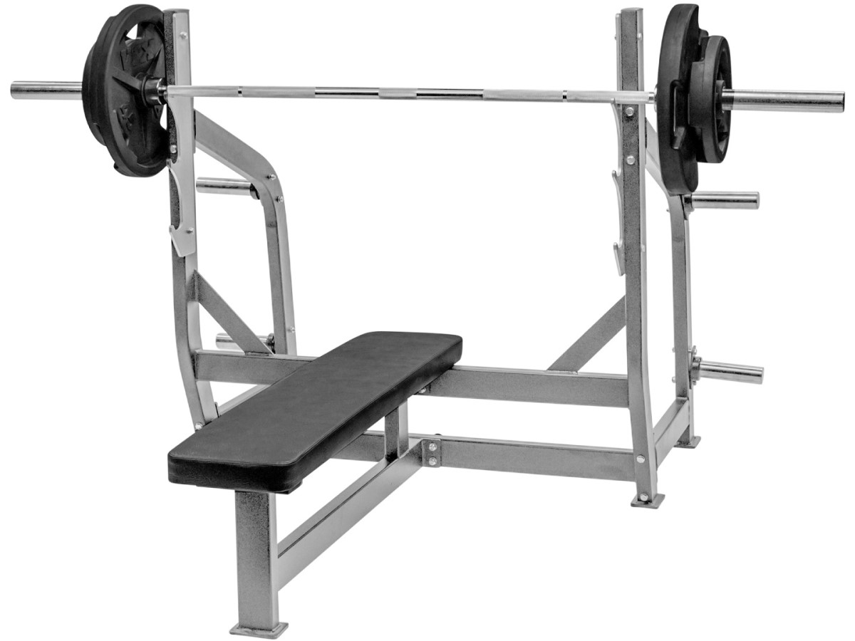olympic bench press bar weighing 45 lbs