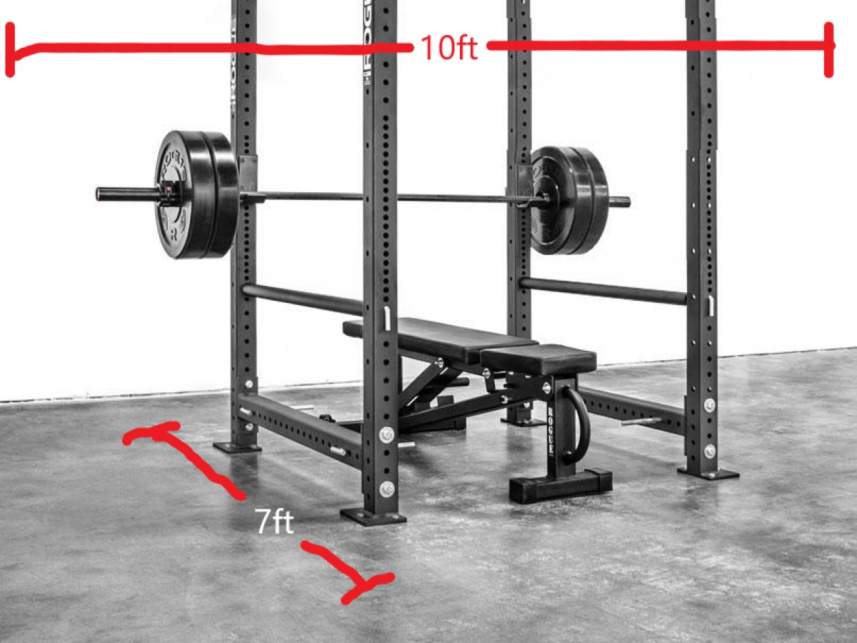 Minimum area required for gym with a power rack and bench