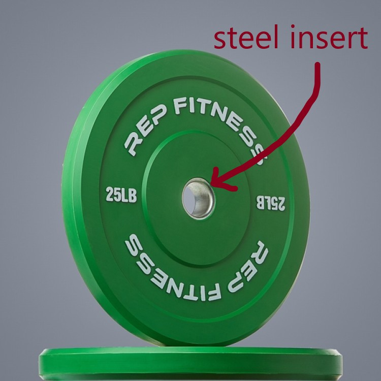 rounded steel insert on bumper plate