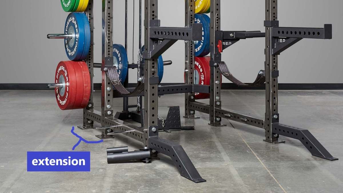 Extension on a power rack for stability and plate storage