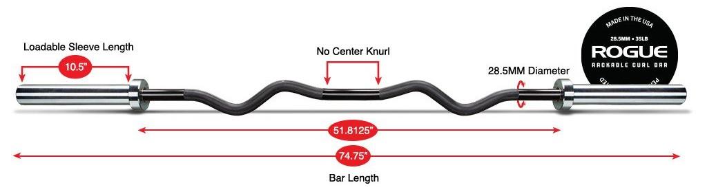 rackable curl bar weight