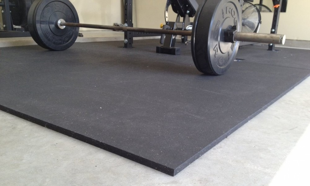 gym floor mats on concrete