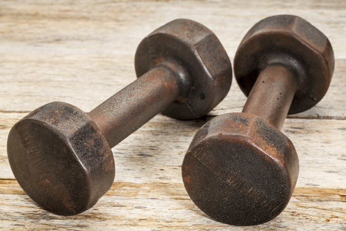 rusty iron dumbbells
