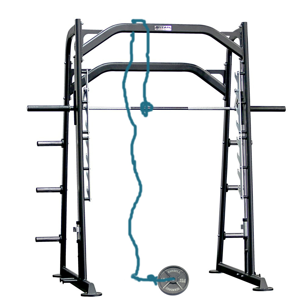 Counterweight testing a Smith machine bar to determine how much it weighs