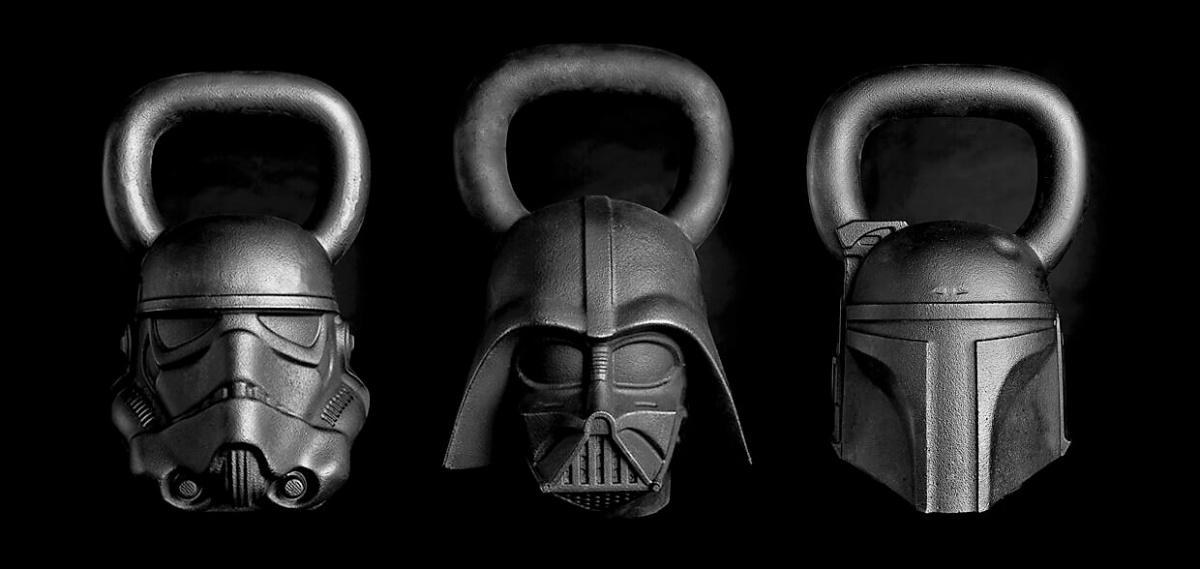 Darth Vader, Storm Trooper, and Boba Fett kettlebell