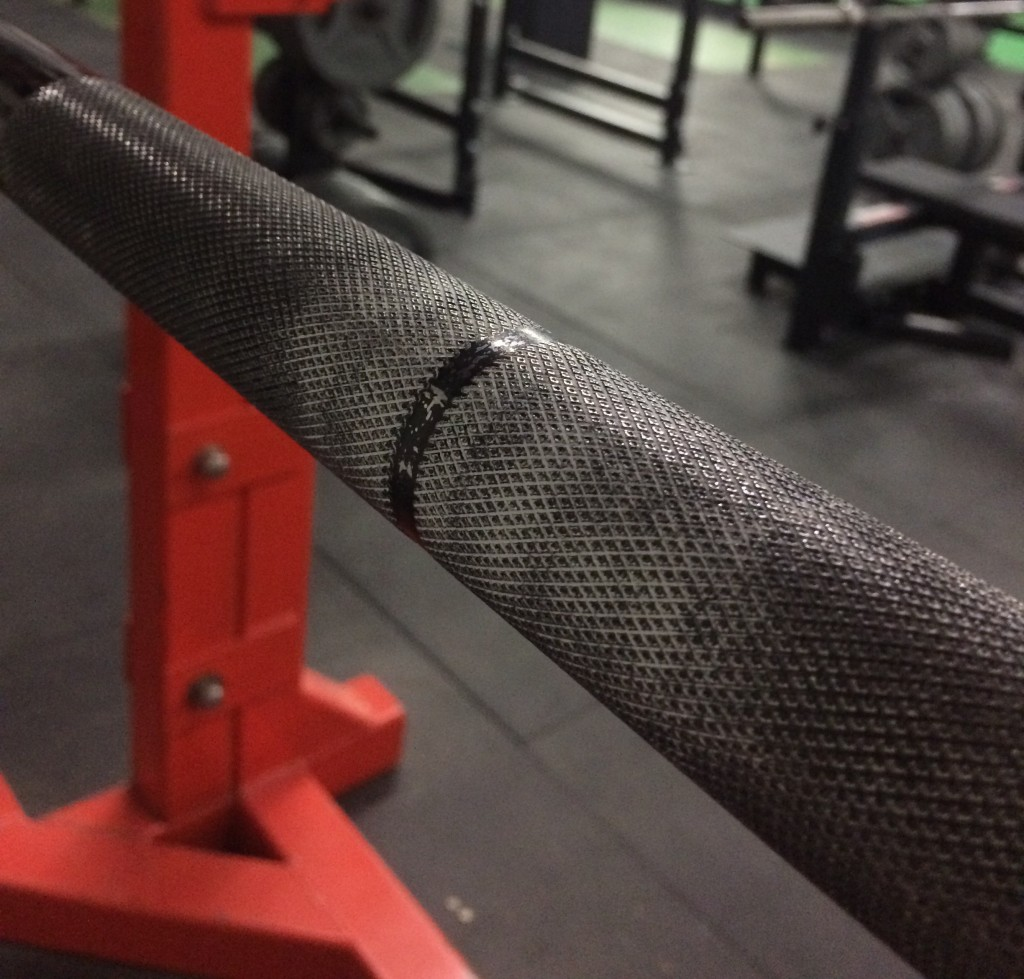 closeup of knurling on Texas Squat Bar