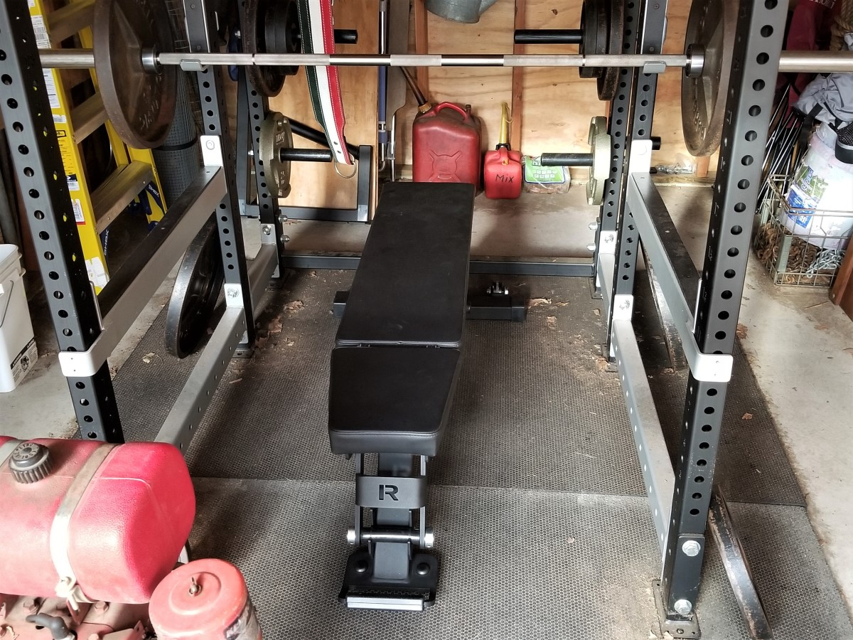 Rogue adjustable bench 2.0 in a power rack