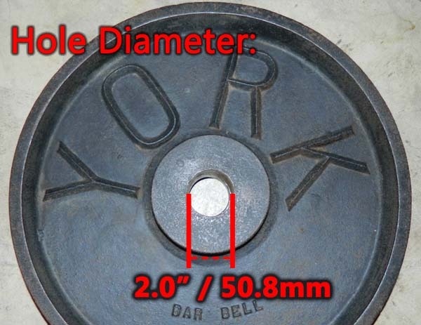 Olympic 45 lb plate diameter: Hole and outside dimensions