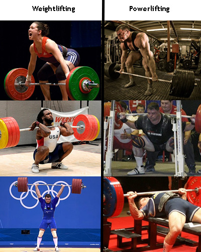 powerlifting vs weightlifting exercises