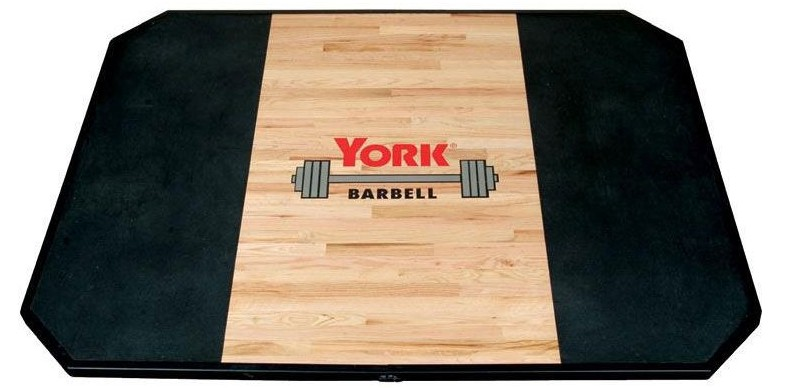 wood and rubber lifting platform to protect the floor in a home gym